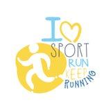 J'aime le sport continue à courir le symbole de logo Illustration tirée par la main colorée Photos stock