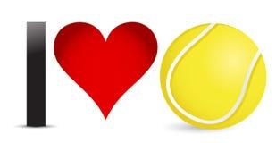 J'aime le tennis, coeur avec de la balle de tennis à l'intérieur illustration libre de droits