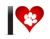 J'aime le texte avec le coeur et le Paw Print rouges Photos libres de droits