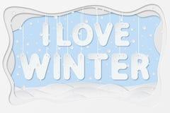 J'aime le texte d'hiver Photo libre de droits