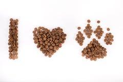 J'aime le texte de chiens des granules Photographie stock libre de droits
