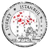J'aime le vecteur de timbre de conception d'Istanbul la mosquée bleue, illustration libre de droits