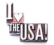 J'aime les Etats-Unis ! Images libres de droits