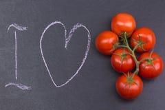 J'aime les tomates, signe pour des amants de tomate Photographie stock libre de droits