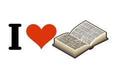 J'aime lire Coeur et livre Emblème pour des amants d'érudition Image stock