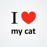 J'aime ma Cat Red Heart Vector Photos libres de droits