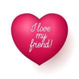 J'aime mon coeur de rouge d'ami Photo stock