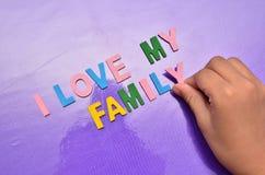 J'AIME MON concept de la famille avec l'alphabet coloré Images stock