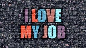 J'aime mon Job Concept Multicolore sur Brickwall foncé Photo stock