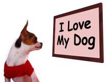 J'aime mon signe de chien montrant l'amitié adorable affectueuse Image stock
