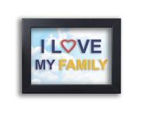 J'aime mon texte de famille sur le cadre noir avec le fond de ciel Photos stock