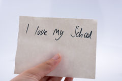 J'aime mon titre d'école à disposition Photos stock