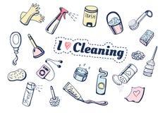 J'aime nettoyer des icônes réglées Images libres de droits