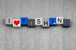 J'aime pêcher, signe pour pêcher de grands poissons de n. Photographie stock libre de droits