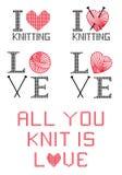J'aime tricoter, ai placé Photos libres de droits