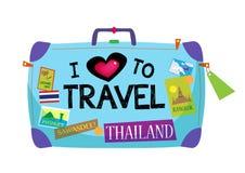 J'aime voyager des bagages de la Thaïlande Images stock
