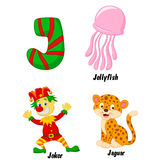 J alphabet cartoon Stock Images