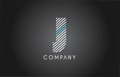 J alphabet line stripe white blue letter logo icon design Stock Images