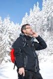 j'appelle l'alpiniste Image stock