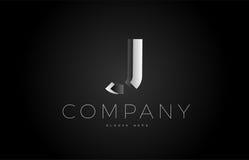 J black white silver letter logo design icon alphabet 3d Stock Images