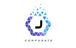 J Blue Hexagon Letter Logo with Triangles. J Blue Hexagon Letter Logo Design with Blue Mosaic Triangles Pattern royalty free illustration