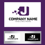 J Brief Logo Design Vector Business Card Royalty-vrije Stock Foto