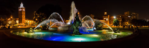 J C Nichols Memorial Fountain at night in Kansas City. J C Nichols Memorial Fountain at night. Kansas City landmark in the country club plaza stock photo