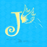 J character and angel wings Royalty Free Stock Photos