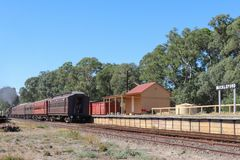 The J class 549 tourist steam train departing Muckleford railway station. MUCKLEFORD, AUSTRALIA - March 11, 2018: The J class 549 tourist steam train departing royalty free stock images