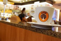 J.Co Coffee coffee cup with blur close Royalty Free Stock Photos