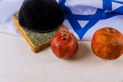 J?disches neues Jahr Rosh Hashanah Traditioneller Feiertagssymbolgranatapfel lizenzfreie stockbilder