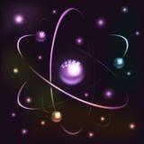 Jądrowy model atom z elektronami i pozytronami Fotografia Stock