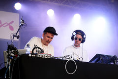 J.E.T.S. Jimmy Edgar and Machinedrum (electronic band and deejays) performance at Sonar Festival. BARCELONA - JUN 18: J.E.T.S. Jimmy Edgar and Machinedrum ( stock image