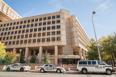 J Edgar Hoover Building, headquarters of the FBI on Pennsylvania Avenue. The building displays the brutalism architectural style on October 26, 2014 Stock Photos