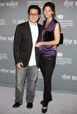 J J Abrams och Katie McGrath Arkivfoto