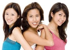 J, J and G #3. Three attractive young asian women in casual clothes Royalty Free Stock Photography