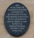 J J Thomson plakieta Zdjęcia Royalty Free