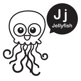 J Jellyfish cartoon and alphabet for children to learning and co Royalty Free Stock Images