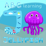 J is for Jellyfish Letter J uppercase font and Cute happy jellyfish cartoon character Sea animal vector illustration Invertebrate Royalty Free Stock Photography