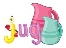 J for jug. Illustration of j for jug Royalty Free Stock Photos