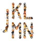 J, K, L, M, N. Letters of pebbles Stock Image