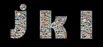 J, K y L literas - collage de las fotos del recorrido Foto de archivo