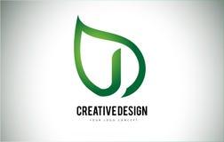 J Leaf Logo Letter Design with Green Leaf Outline Royalty Free Stock Images