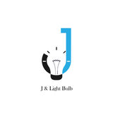 J-letter/alphabet icon and light bulb abstract logo design. Vector template.Corporate business and industrial logotype idea concept.Vector illustration Stock Photo