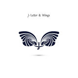 J-letter sign and angel wings.Monogram wing vector logo template Royalty Free Stock Photo