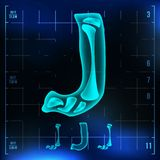 J Letter Vector. Capital Digit. Roentgen X-ray Font Light Sign. Medical Radiology Neon Scan Effect. Alphabet. 3D Blue. Light Digit With Bone. Medical Royalty Free Stock Photography
