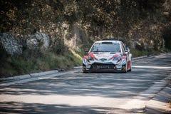 J M Latvala u. M Antilla konkurrieren im 2019 WRC-Ausflug de Corse lizenzfreie stockfotos