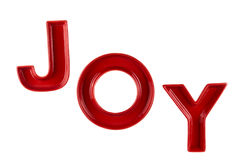 J O Y letters isolated. Joy. Ceramic letters isolated on white Royalty Free Stock Photos