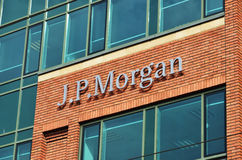 J.P.Morgan. Letters of J.P.Morgan bank on office wall Stock Photography