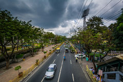 J.P. Rizal Avenue in Makati, Metro Manila, The Philippines. royalty free stock photography